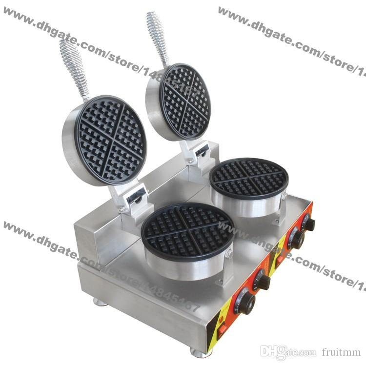 Commercial Use Nonstick 110v 220v Electric Dual Round Standard Belgian Waffle Maker Iron Baker Machine