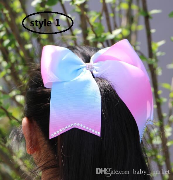 9 Estilo! Exagerado 8inch Jojo Black Rhinestone Bow com clipe faísca arcos alegre ombre arco-íris fita cabelo accessories /