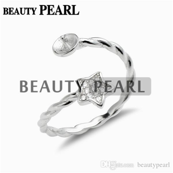 Star Ring Twisted Band Cubic Zirconia 925 Sterling Silver Pearl Mounts for DIY Jewellery Make