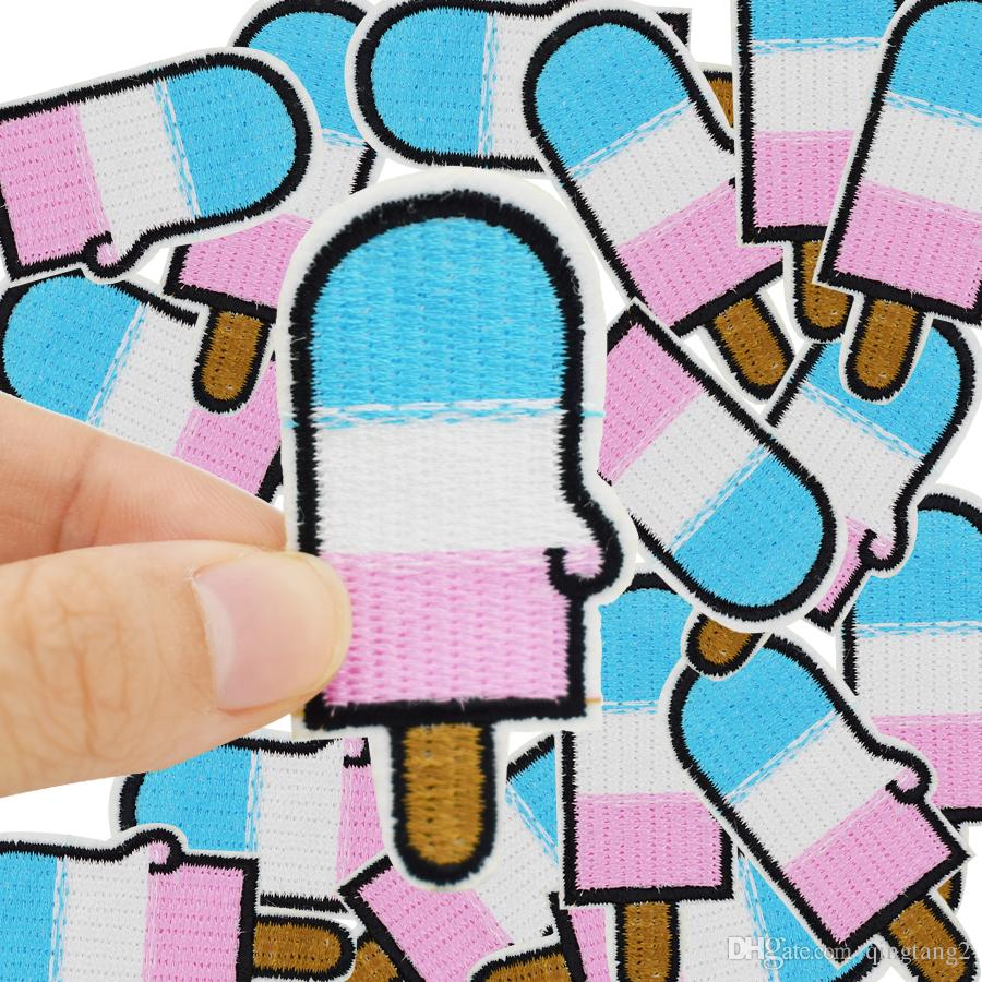 three-color ice cream embroidery patches for clothing iron patch for clothes applique sewing accessories on clothes iron on patch DIY