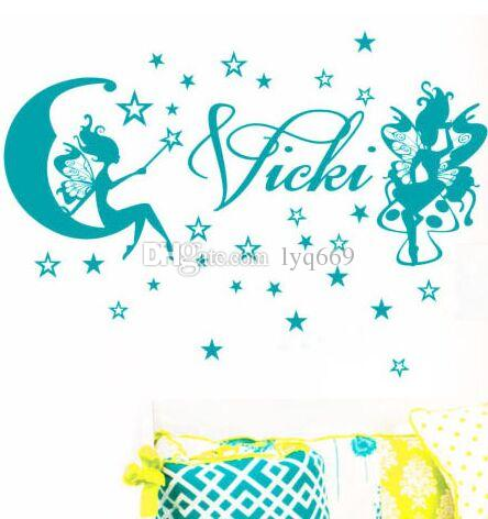 Personalised Name Fairy Star Girls Bedroom Room Wall Stickers Vinyl Decal Decor custom made any name Size 68.6*33cm