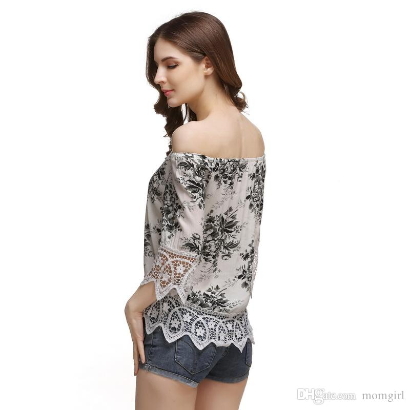 7e576dac7d39b Women Stylish Shirt Ladies Half Sleeve Boat Neck Tops Summer Casual Off  Shoulder Flower Printing Cloth Tee Shirts For Sale Random T Shirts From  Momgirl