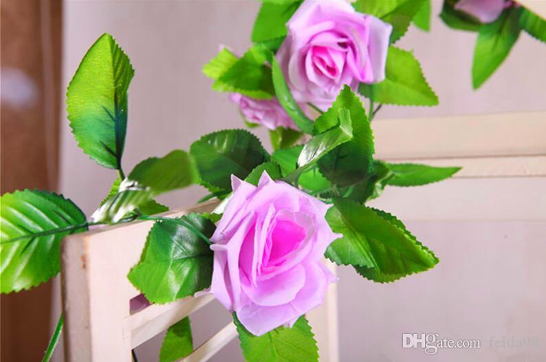 240cm Fake Silk Roses Ivy Vine Artificial Flowers with Green Leaves For Home Wedding Decoration Hanging Garland Decor Emulation of flower