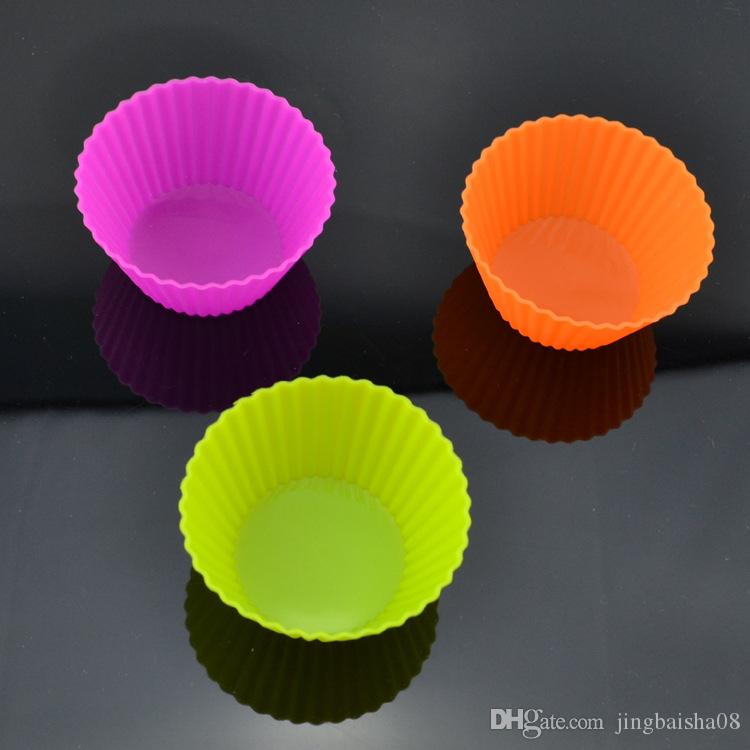 Silicone Cupcake Molds 7cm Silica Gel Liners Baking Mold Muffin Cup Cake Baking Cups Cupcake Cases Home household round shape