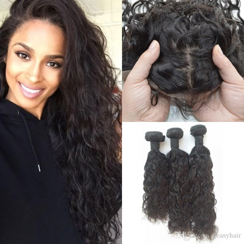 Wet And Wavy Human Hair Bundles With Silk Base Frontal Unprocessed