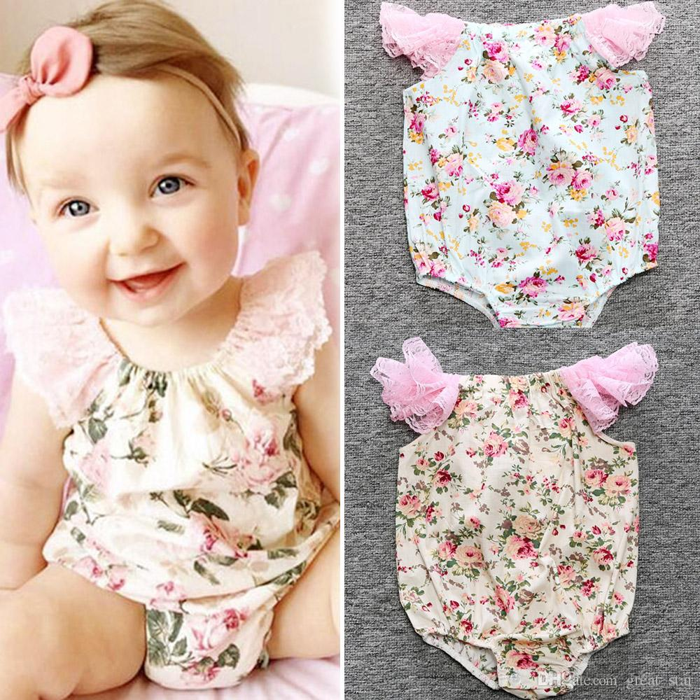 009d783f3 2019 Summer 2017 New Cute Baby Clothes Top Quality Newborn Baby Lace  Printed One Piece Rompers Toddler Girls Jumpsuit Outfit Kids Clothes From  Great_star, ...