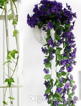 Lebensechte Violet Orchid Ivy Künstliche Blume Hängepflanze Silk Garland Vine, African Violet