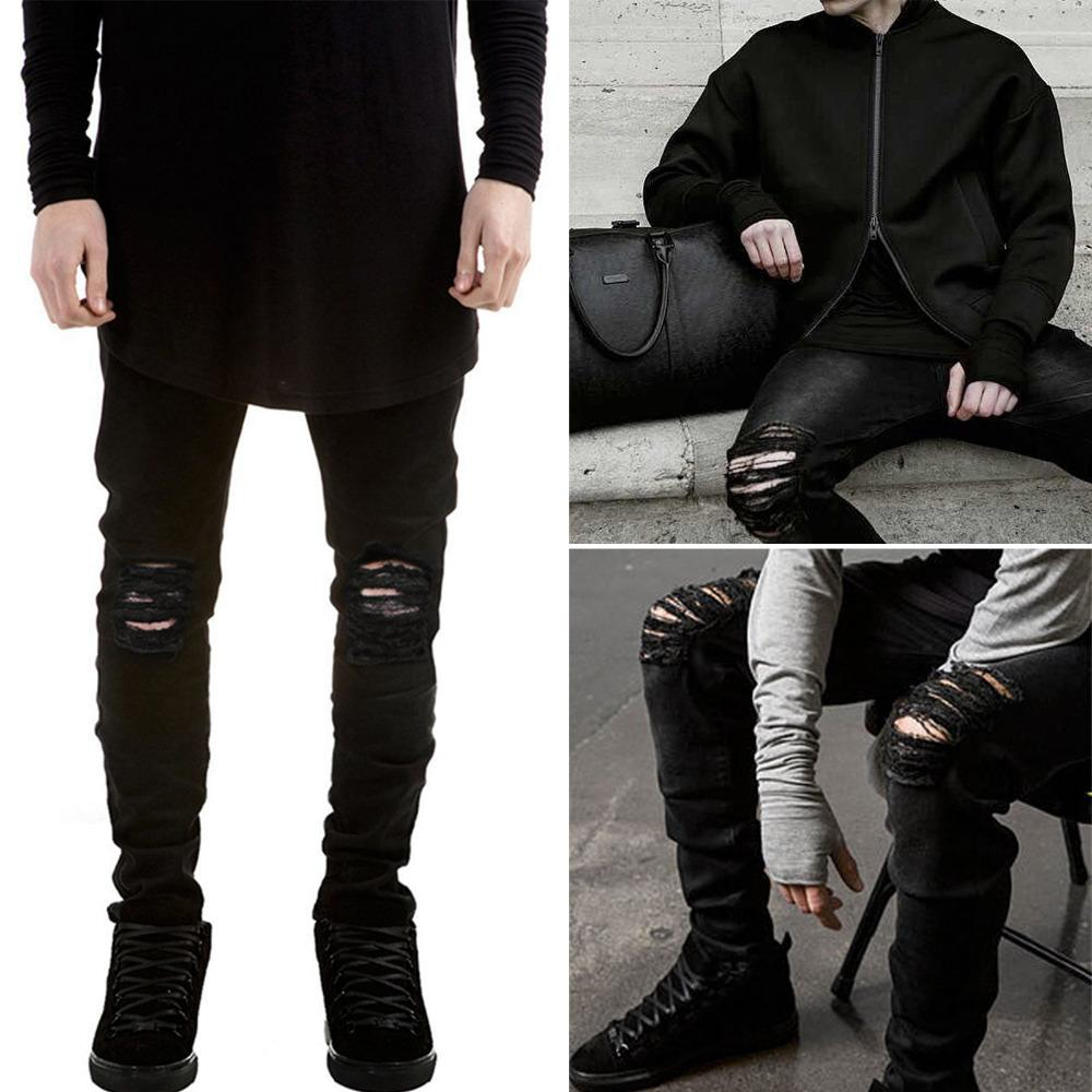 8fee9006f4 Wholesale-2016 ripped jeans for men skinny Distressed slim famous brand  designer biker hip hop swag tyga white black jeans kanye west
