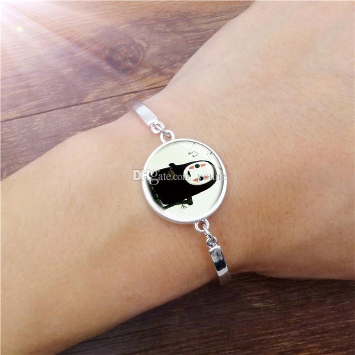 ! Vintage Jewelry with Silver Plated Glass Cabochon No Face man Pattern Charm Friendship Bracelet Bangle for Women Party