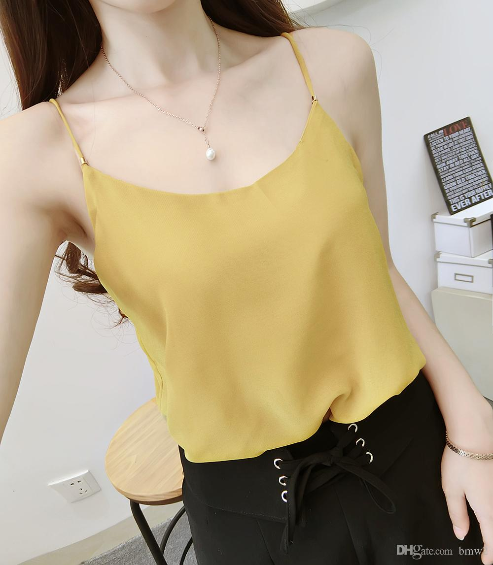 7b22f55835e3f 2019 2017 Autumn Tank Top Female Camisole Tops Sleeveless Spaghetti Strap  Vest Casual Lace Camis Tank Tops Women Top Camisole From Bmw2