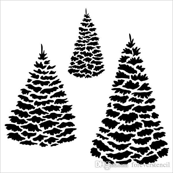 White Tree Stencils Printing Designs Masking Template For