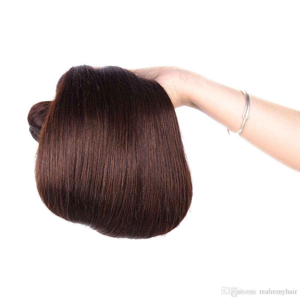 PASSION Hair Products Brazilian Straight Virgin Hair Weave Bundles #2 Dark Brown Colord Remy Human Hair Extensions