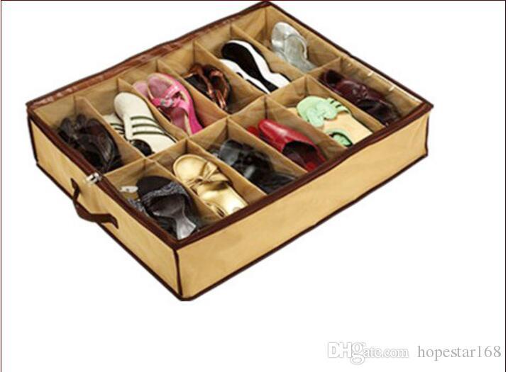 Yeni Tasarım Bez Kumaş Ayakkabı Depolama Organizer Tutucu Ayakkabı Organizatör Kutusu Dolap 67 * 56 * 15 cm Ev için ues sıcak