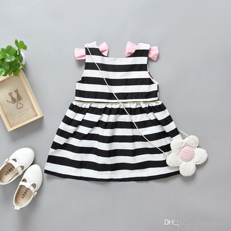Summer White And Black Stripe Kids Girl Dress 2017 Baby Girl Party