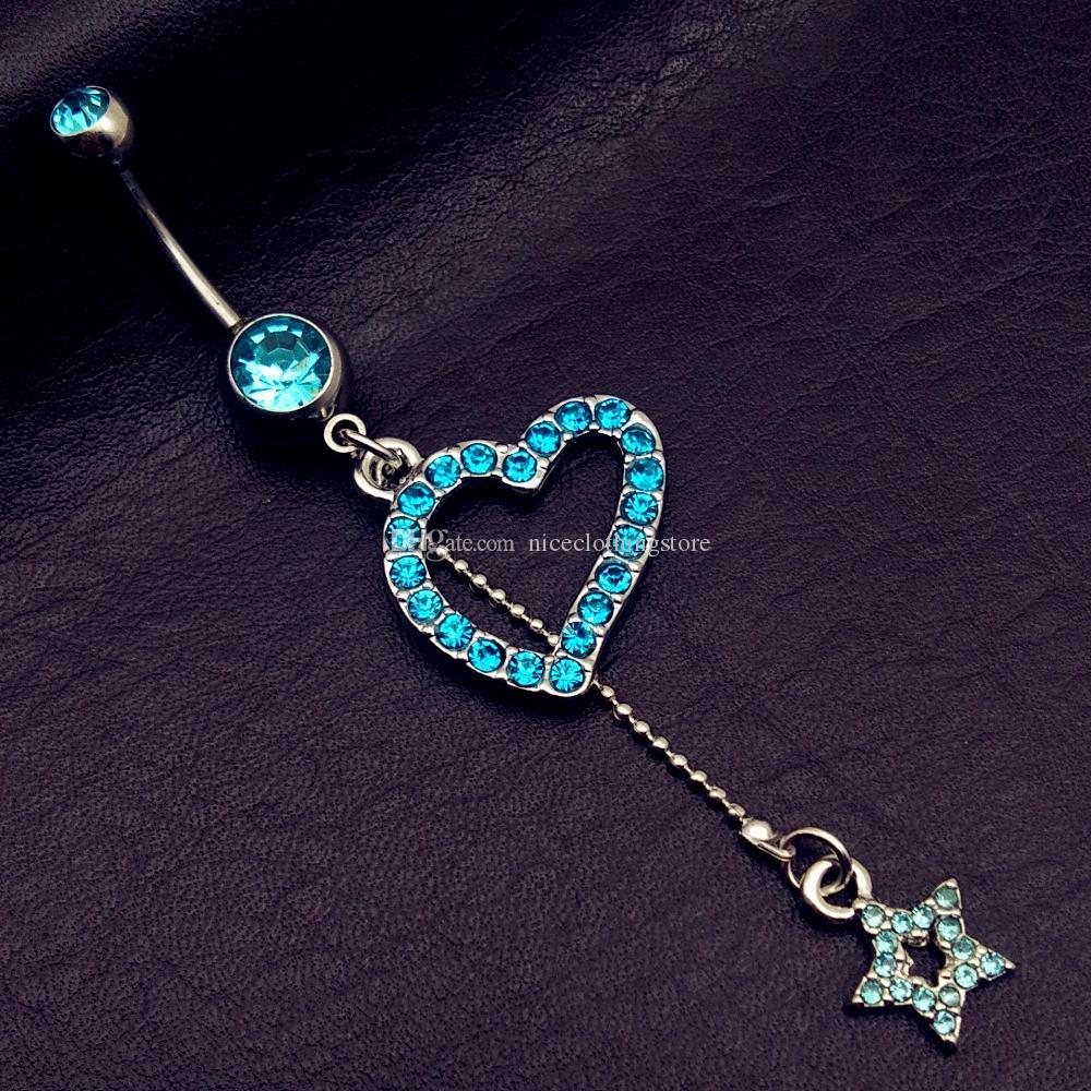 mix style vintage blue Turquoise wings note star bow long dangle navel belly bar button rings body piercing jewelry