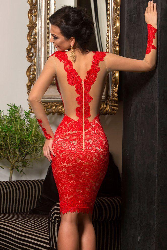 Sexy kurze kleine Berühmtheit Cocktail roter Spitze Applique nackte Illusion Langarm Heimkehr Kleid nach Maß