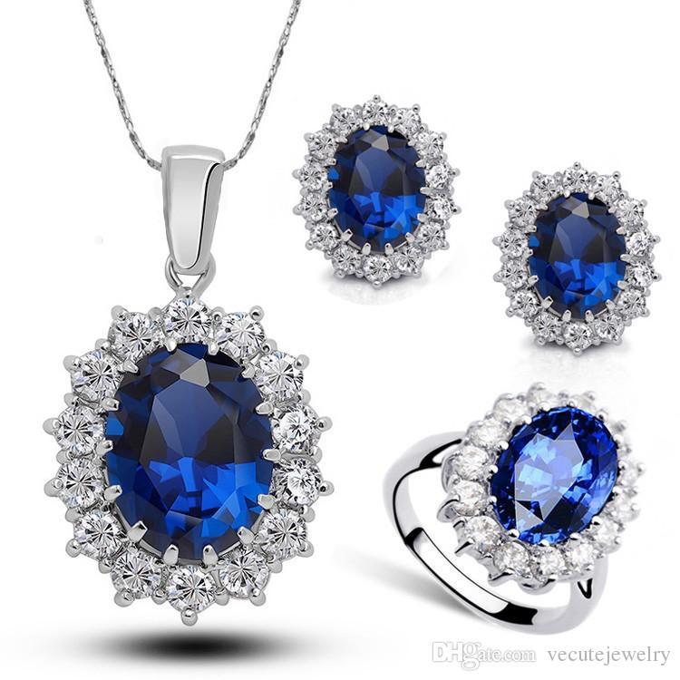 18k branco banhado a ouro princesa kate colar de cristal austríaca brincos anel casamento jóias conjunto aniversário jóias jóias nice presente
