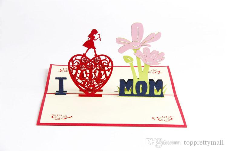 Greeting Cards Mother Day I LOVE MOM Card For Festival High Quality Card Beautiful Gift Birthday Card