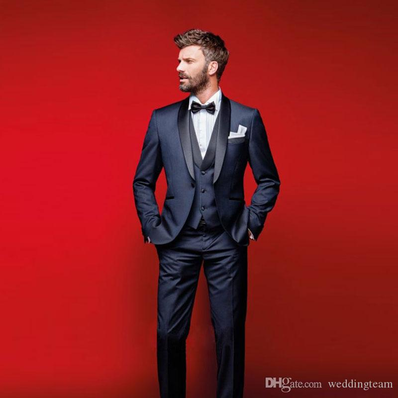 Classy Navy Blue Wedding Tuxedos Slim Fit Suits For Men Groomsmen Suit Three Pieces Cheap Prom Formal Jacket Pants Vest Bow Tie 1920s Mens Clothes