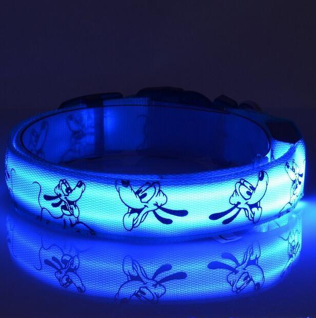 LED Dog Collar Glow Nylon for Dogs Puppy Cats Pet Large Adjustable Night Luminous Collar Pet Supplies pet shop dog acessorios G479
