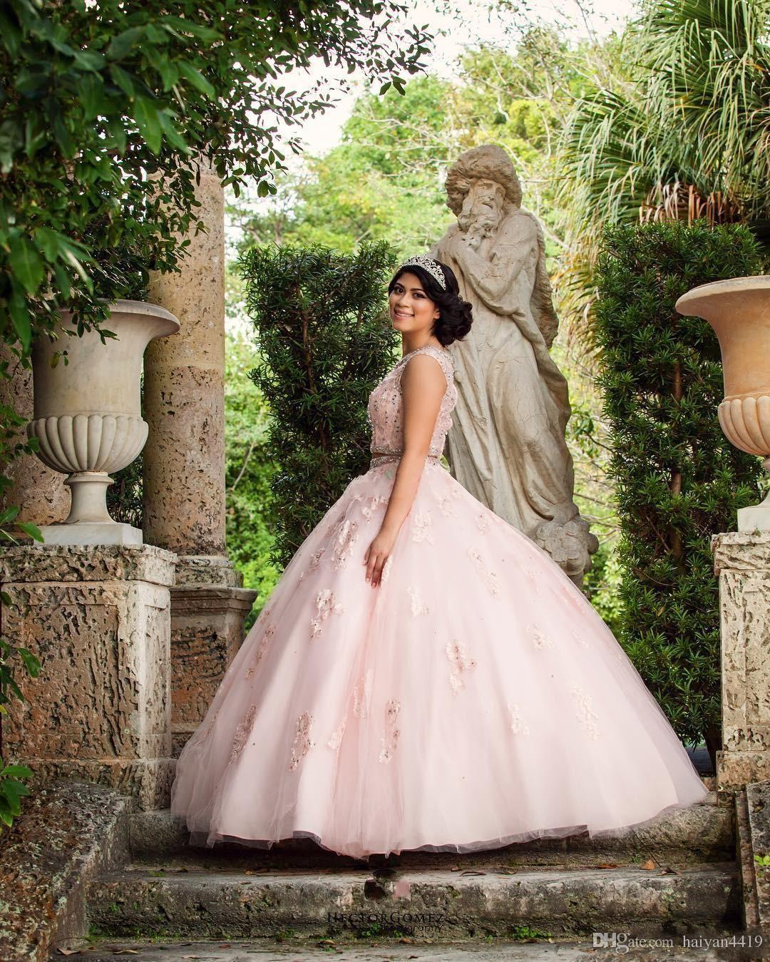 2017 neue Rosa Zwei Stücke Quinceanera Ballkleid Kleider Jewel Neck Spitze Appliques Perlen Tüll Süße 16 Plus Größe Party Prom Abendkleider