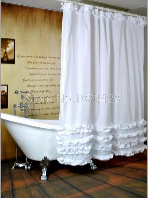 2018 Wholesale Shower Curtain White Ruffled Princess Dress Design Bathroom Waterproof Mildewproof Polyester Fabric With 72 Inch 12 Hooks From Stunning88