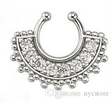 Hot sale crystal fake septum nose ring piercing clip on body jewelry faux hoop U shape nose rings for women