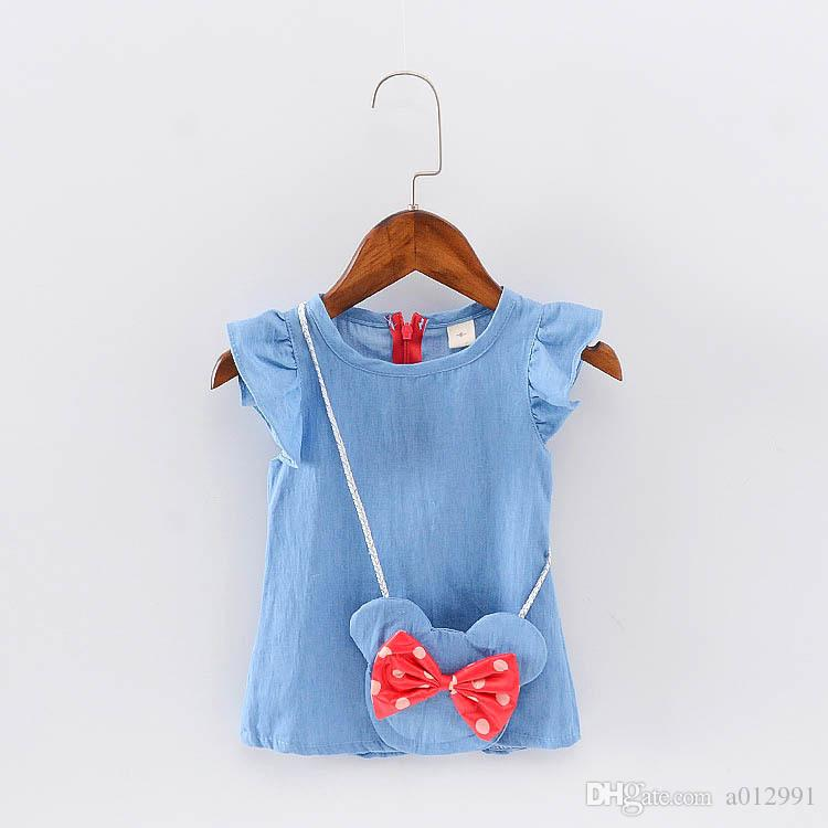 Wholesale- Cute Baby Girl Dress Jeans Children Kids Baby Denim Dresses One Piece Baby Summer Clothing For School Casual Wear Clothes Girl