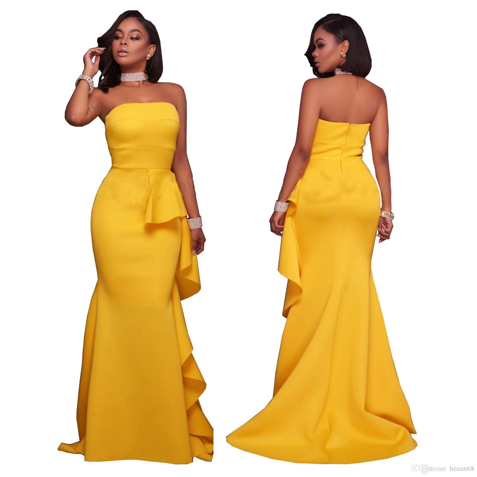 Sexy Elegant Party Dresses Yellow Off Shoulder Strapless Formal ...