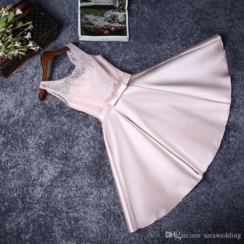 Blush Pink Lace Satin Short Bridesmaid Dresses Lace Up 2018 Knee Length Party Dresses Drop shipping