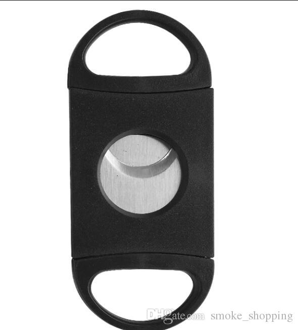 New pocket plastic stainless steel double blades cigar cutter knife scissors tobacco black color smoking accessories