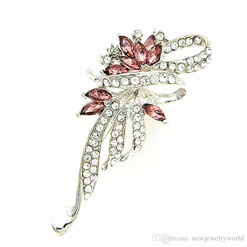 Amazing Gold Plated Alloy Stunning Diamante Pretty Big Bow Brooch Purple Crystals Fashion Lapel Pins For Men And Women