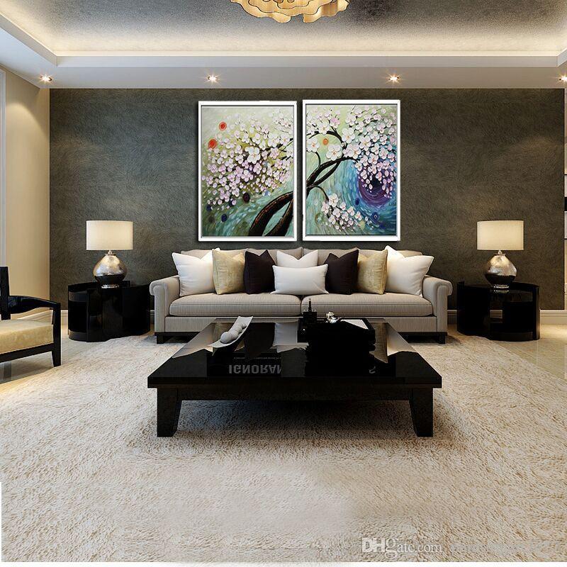 Günstige großen Leinwand-Kunst-Rosa-Blumen-2panels abstraktes Ölgemälde Hand gemalt auf Leinwand-Wand-Kunst Dekorative Bildern