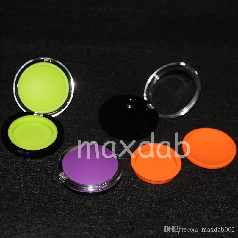 6ML clam Wax Containers Silicone Jars Dab Wax Container FDA BHO Wax Jar Silicone Box Storage Sticker Dabber Holder dhl