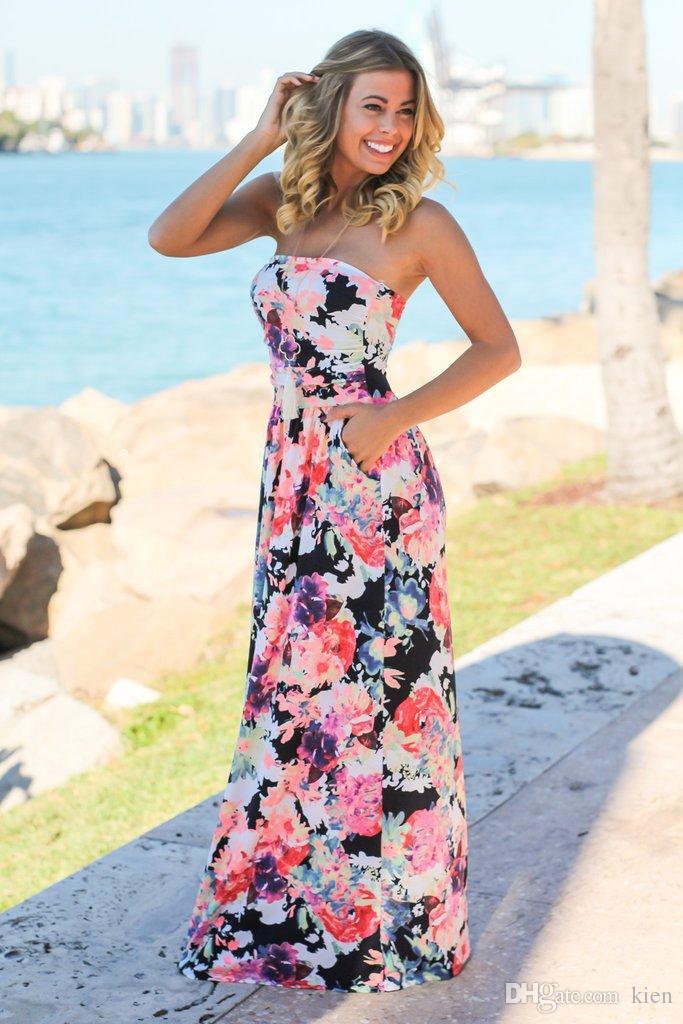 b2ccbfee5 Compre Vestido Largo Elegante Del Partido Agraciado Del Estampado Floral De  La Vendimia Maxi De Las Mujeres A  15.43 Del Kien