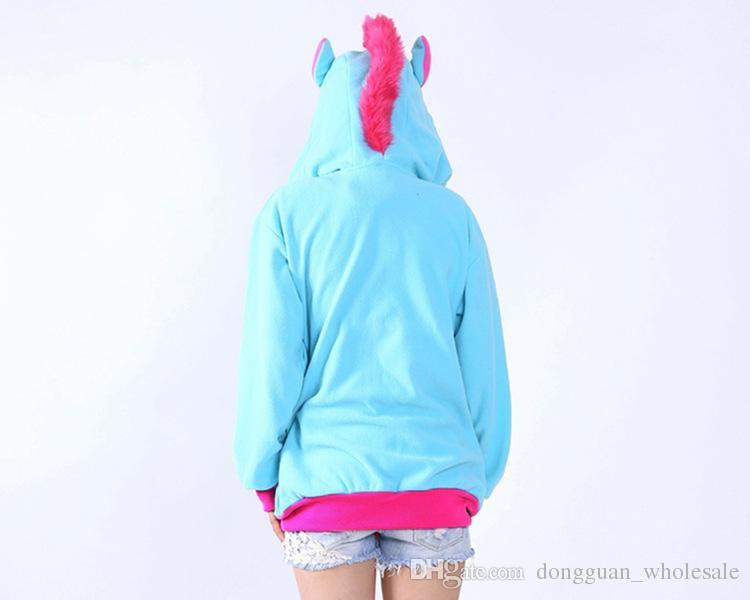 Neue Neuheit Frauen Hoodies Mode Cartoon einhorn Sweatshirts Trainingsanzüge Frauen gardigan hoodies Mädchen Winter nette Kapuzenjacke
