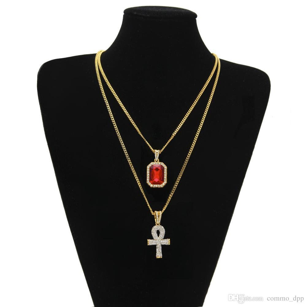 Hip Hop Jewelry Egyptian large Ankh Key pendant necklaces Sets Mini Square Ruby Sapphire with Cross Charm cuban link For mens Fashion