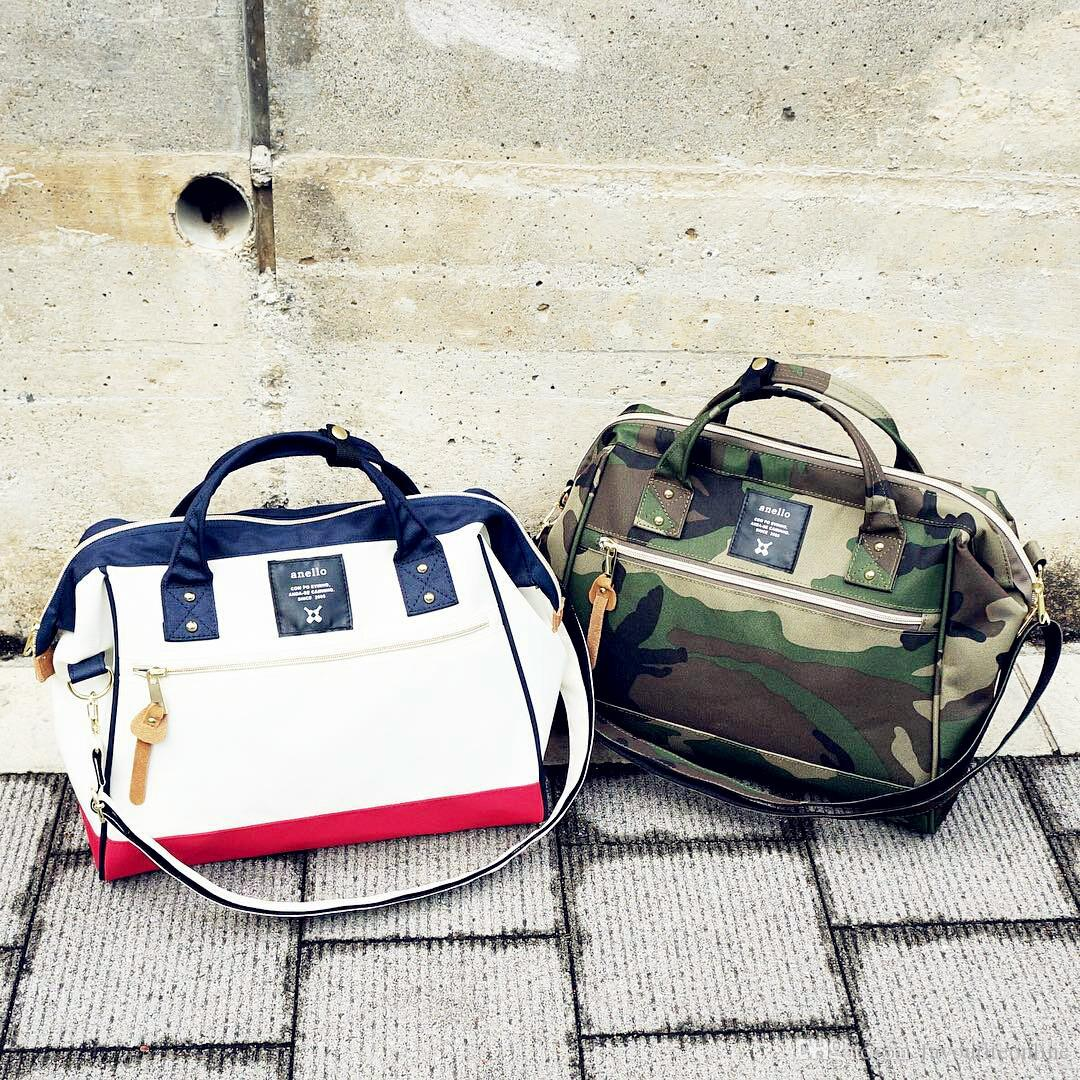 Anello Japan Boston Bags Unisex Camouflage Shoulder Bags Cross Body Pig Nose Waterproof Nylon Single Casual Handbags Big Size