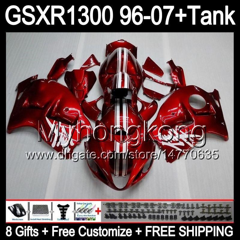 8gift para rojo oscuro SUZUKI Hayabusa GSXR1300 96 97 98 99 00 01 13MY10 GSXR 1300 GSX-R1300 GSX R1300 02 03 04 05 06 07 brillo Rojo oscuro Carenado