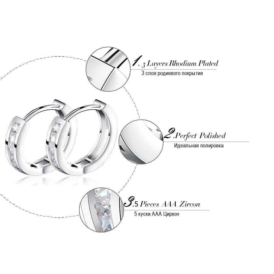 Orsa Biżuteria Platinum Plated Silver Moda Kolczyk Dla Kobiety Prezent Dla Przyjaciel Kobieta Hoop Kolczyk OE02
