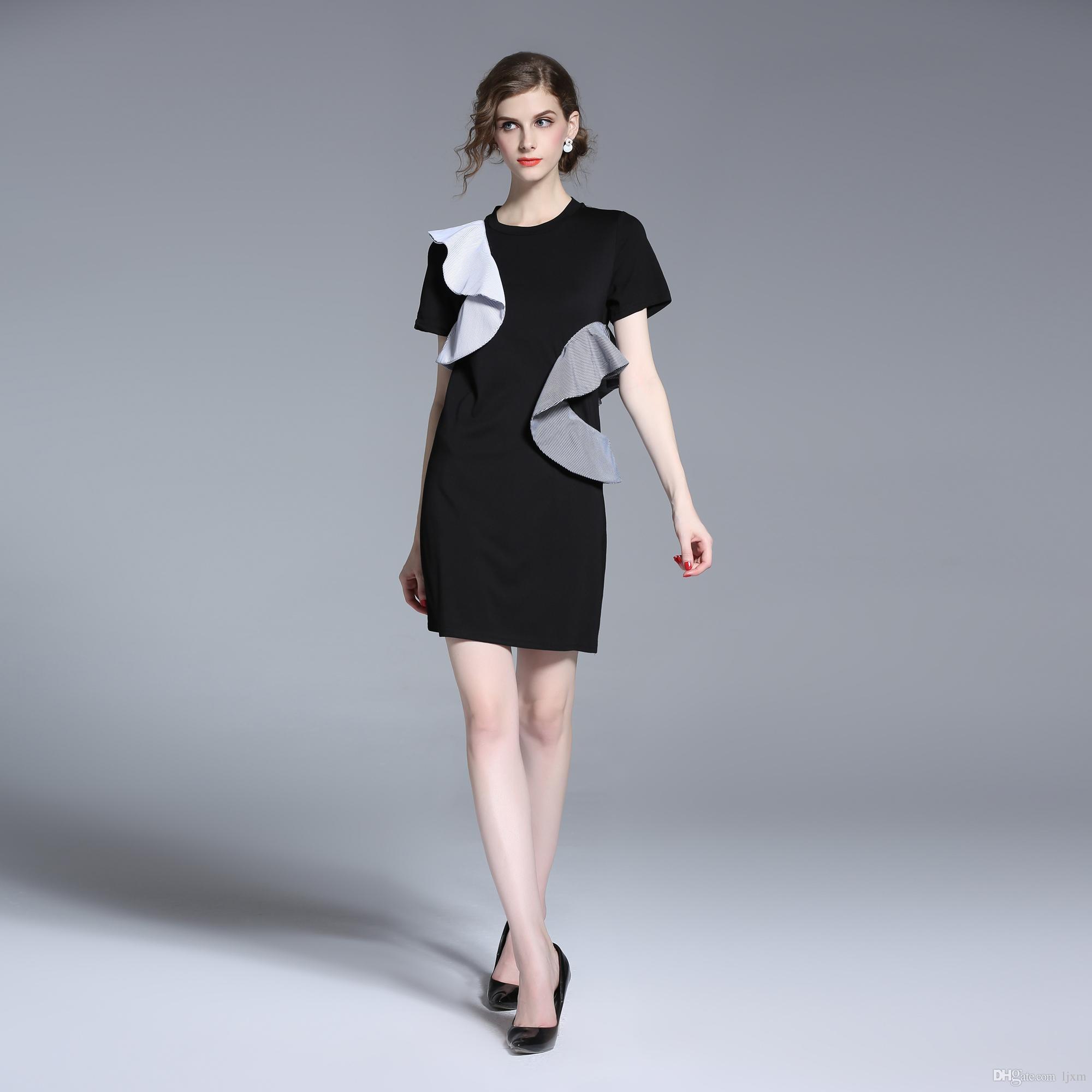 c606e79a4f1 Летнее платье вскользь платья для женщин дамы Multicolor цветочные короткие  рукава круглые шеи прямые короткие платья
