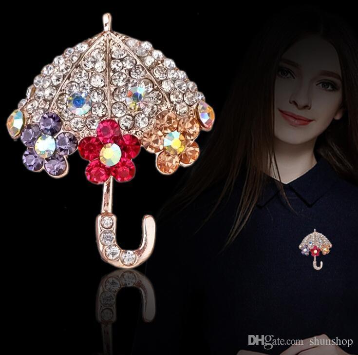 Bling Rhinestone Crystal Umbrella Brooch Pin Decorative Garment Accessories  Wedding Bridal Brooch Pin Birthday Gift Umbrella Brooch Pin Bling Brooch  Crystal ... 52ac40b6768f