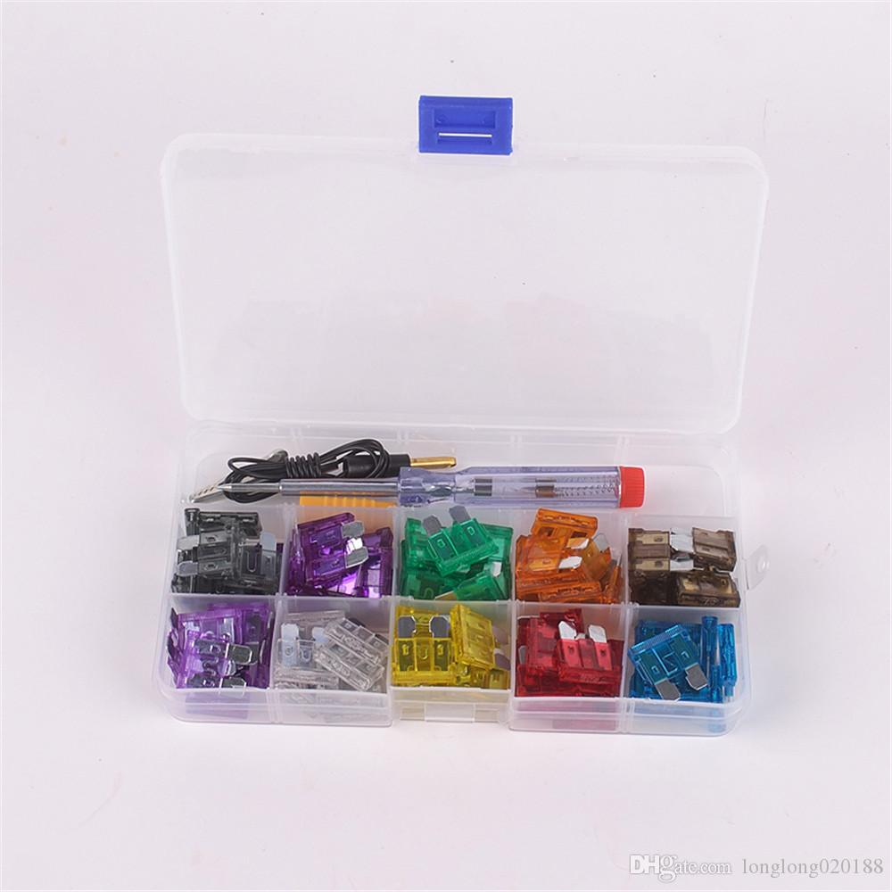 car auto Blade Fuse Kit 2A 3A 5A 7.5A 10A 15A 20A 25A 30A 35A with Electrical Tester Electroprobe Fuse Dimensions:19mm x 5mm x 18mm