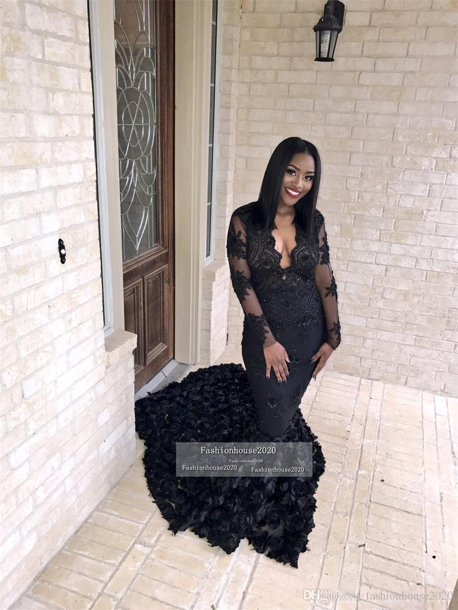 2018 Black Girl Lace Long Sleeve Evening Dresses Mermaid Deep V Neck Appliques Beaded Formal Evening Gowns Cheap african Prom Pageant Gowns
