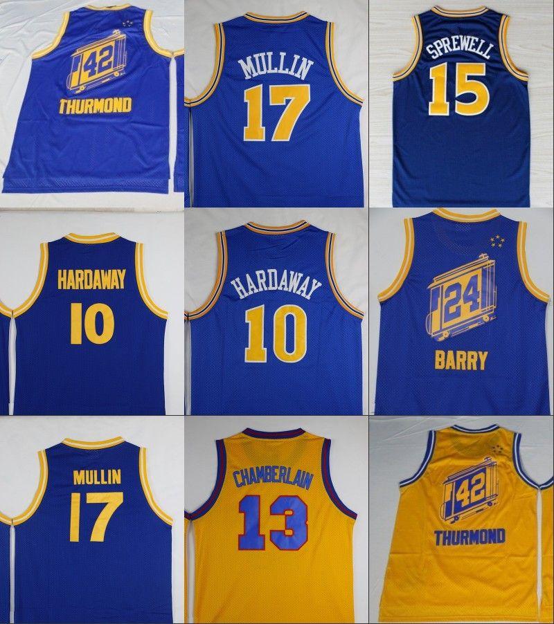 b4aec3f44d5 ... 2017 Throwback Basketball Jerseys 10 Tim Hardaway 17 Chris Mullin 24  Rick Barry 42 Nate Thurmond ...