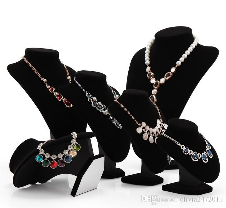 Atacado-15 * 15 cm tamanho preto e branco colar de veludo jóias stand jóias holde rack para mulheres presentes WH1