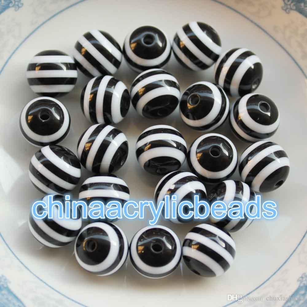 8MM Resin Round Rainbow Striped Beads Stripe Gumball Beads Bubble Gum Beads Charms For Jewelry Making