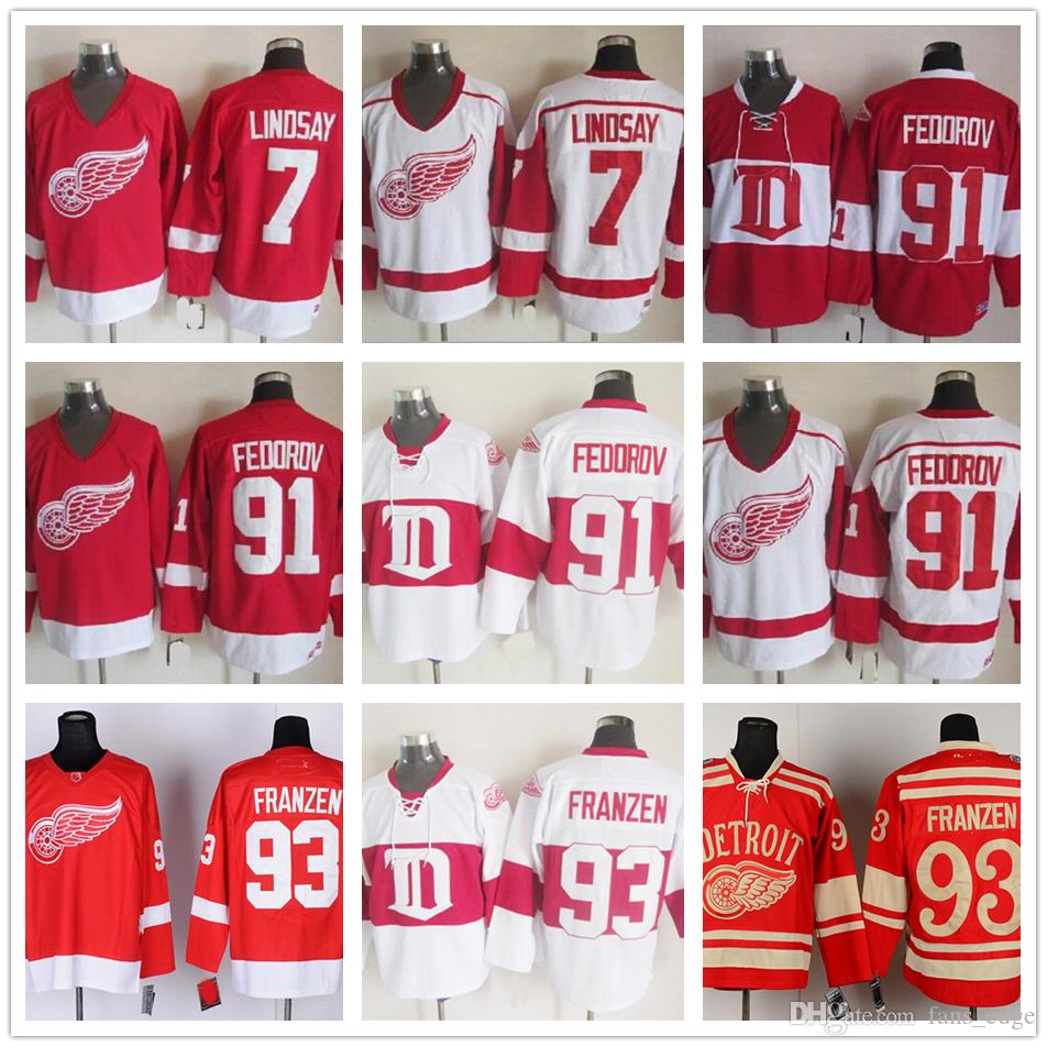 32921a0391e 2019 Hockey Detroit Red Wings Jerseys 7 Ted Lindsay 91 Sergei Fedorov 93  Johan Franzen Red White Winter Classic CCM Jersey From New jersey store