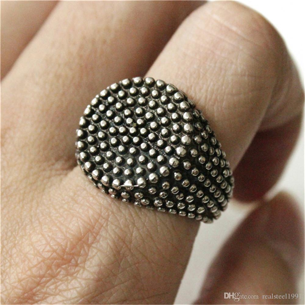 Support Dropship New Design Silver Black Round Ring 316L Stainless Steel Fashion Jewelry Biker Style Hot Selling Ring
