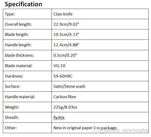 Top Qualität LW Karambit Claw Messer VG10 Stahlklinge Kohlefaser Griff Outdoor Camping Wandern Jagd Überleben Messer Mit Kedex